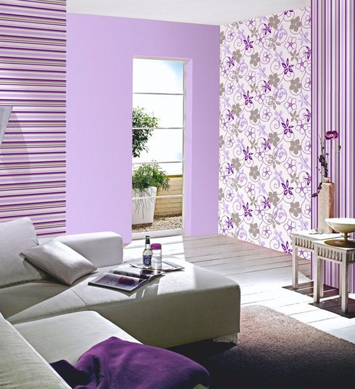 Оформление зала обоями двух цветов