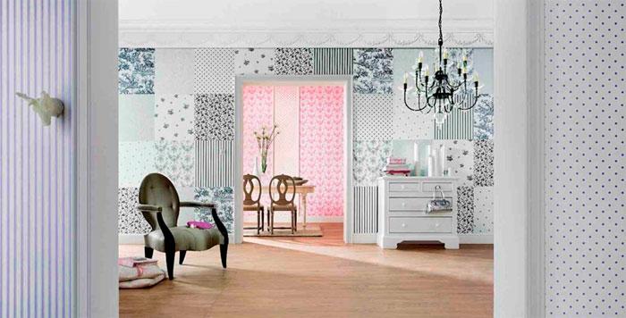 Оформление комнаты обоями двух цветов