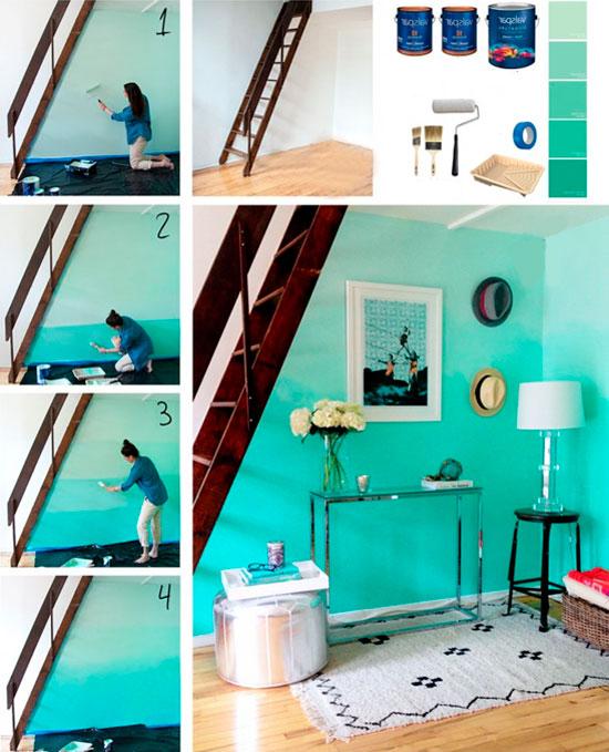 Техника покраски стен омбре