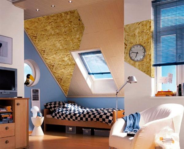 Применение в интерьере: обшивка стен, потолка и пола ОСБ