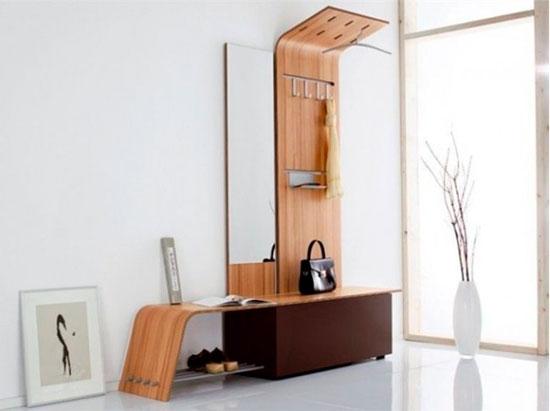 Большая вешалка с полкой и зеркалом