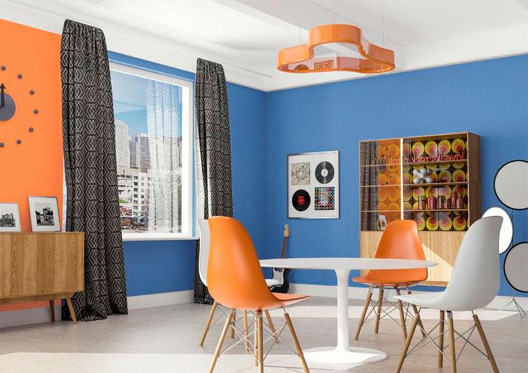 Хорошо контрастирует оранжевый с голубым и фиолетовым