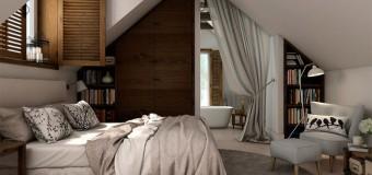 Спальня на мансардном этаже – дизайн