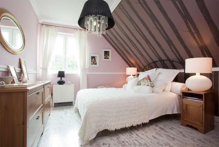 интерьер спальни мансарда фото