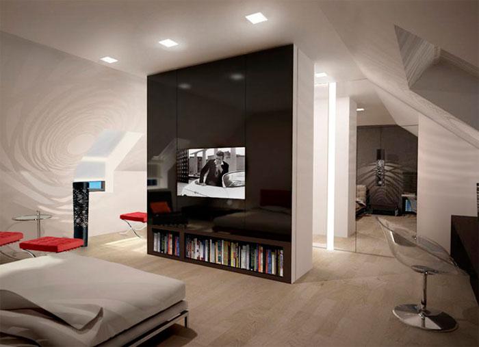 Интерьер мансардной спальни в деревянном доме