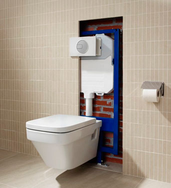 Compact hanging toilet