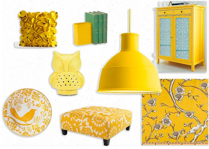 Интерьер желтой гостиной