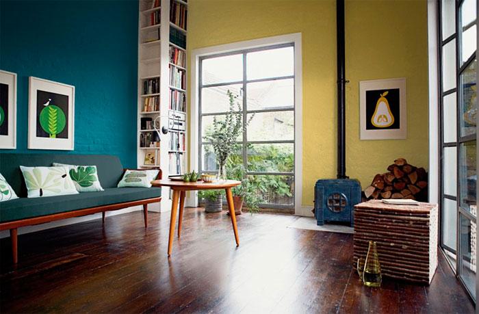 Современная гостиная желтого цвета, фото