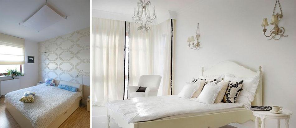 Интерьер спальни с белой мебелью, фото