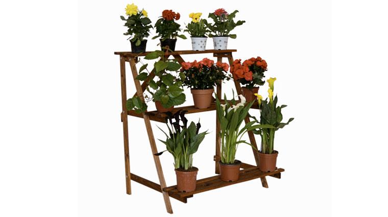 Напольная деревянная подставка под цветы