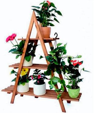 Деревянная напольная подставка для цветов