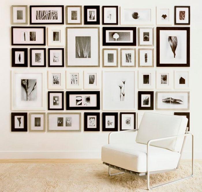 Как разместить картины разного размера на стене