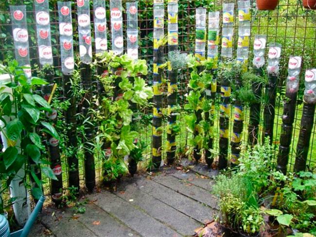 Декоративный зеленый забор из пластиковых бутылок
