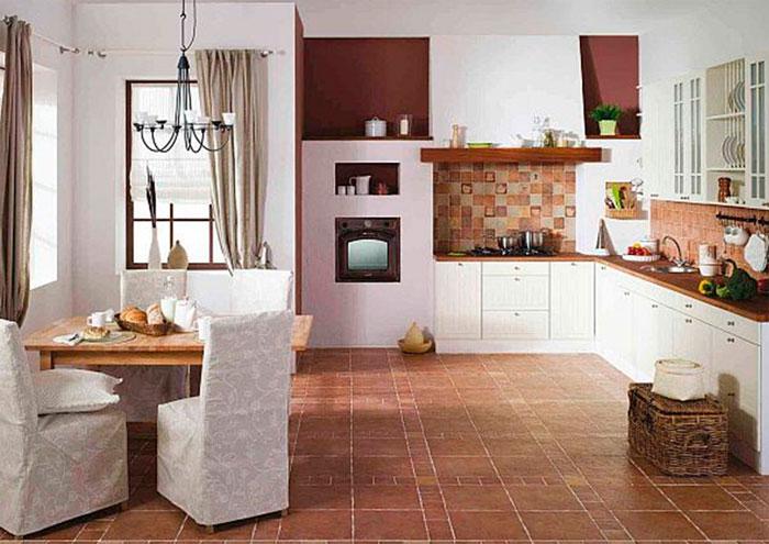 Современные полы на кухне из плитки