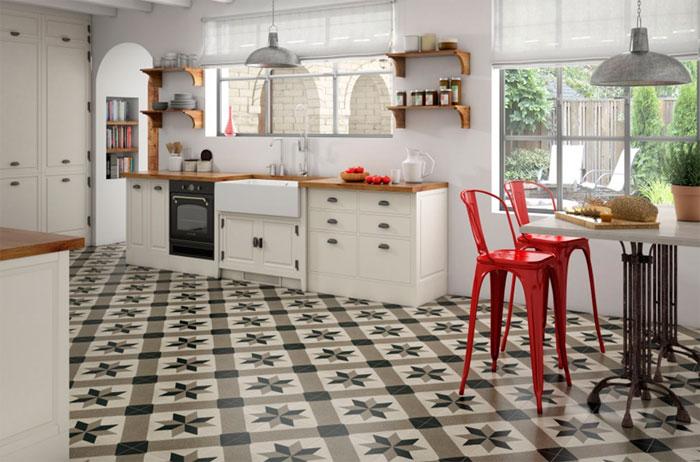 Дизайн плитки на пол на кухне в стиле пэчворк