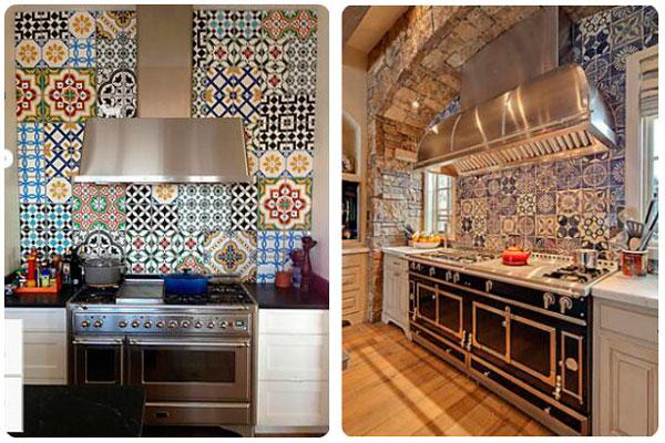 оформление стен на кухне плиткой