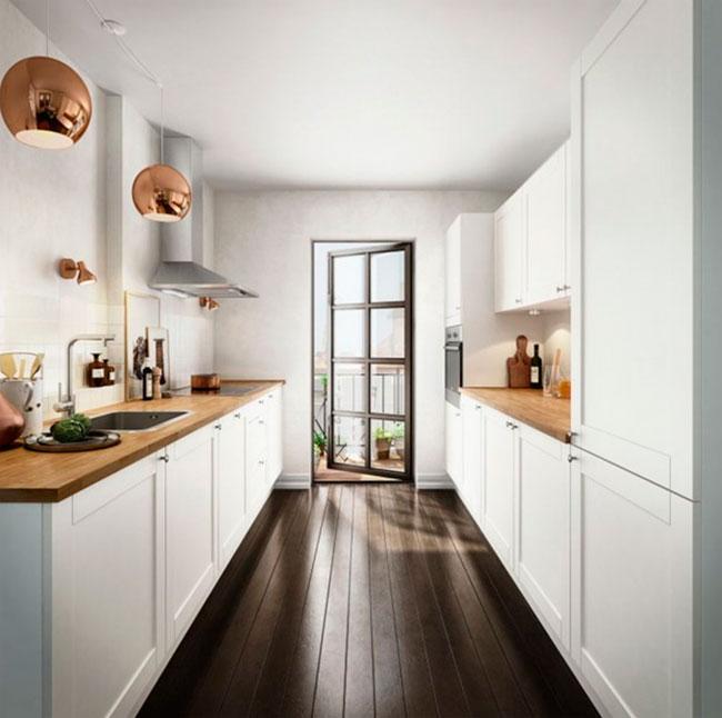 дизайн узкой длинной кухни