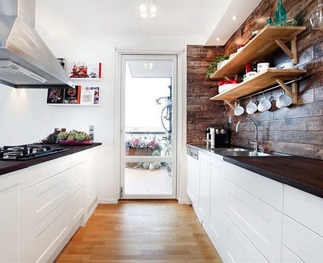 Узкая кухня – дизайн, фото