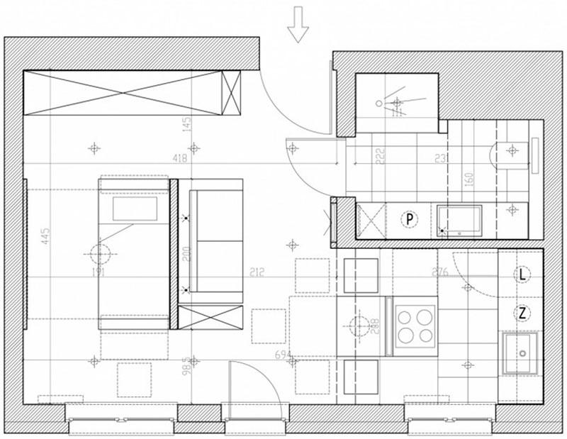 Design ideas for one-room apartment of 30 square meters. m