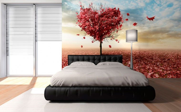 Modern bedroom design - wallpaper with a trendy pattern.