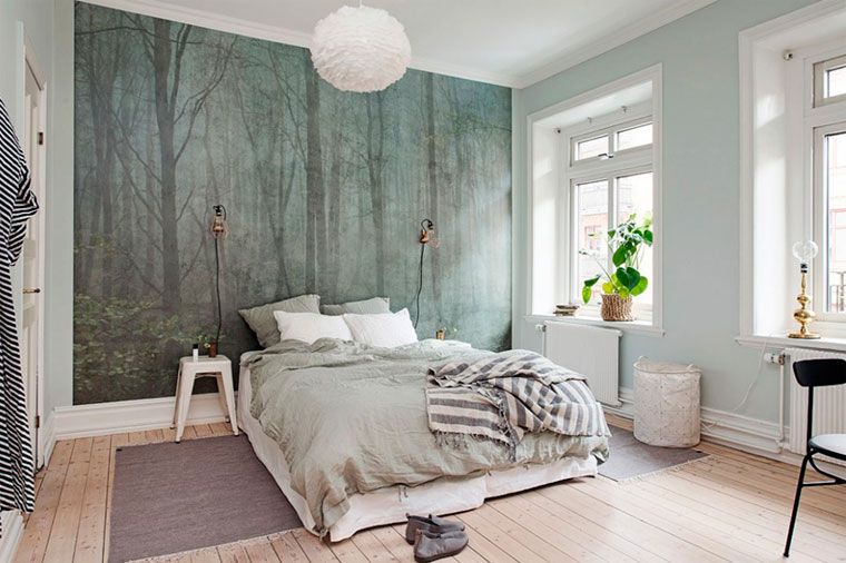 Modern wallpaper in the bedroom - photo