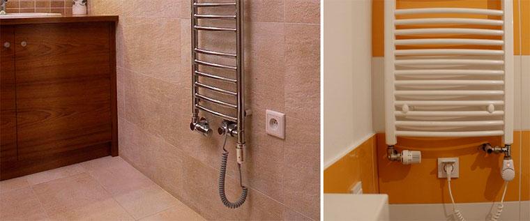 Комбинированный полотенцесушитель в ванную водяной с нагревателем