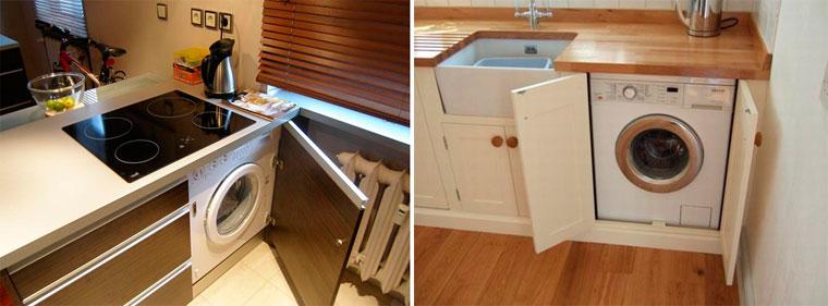Кухня со стиральной машиной – фото