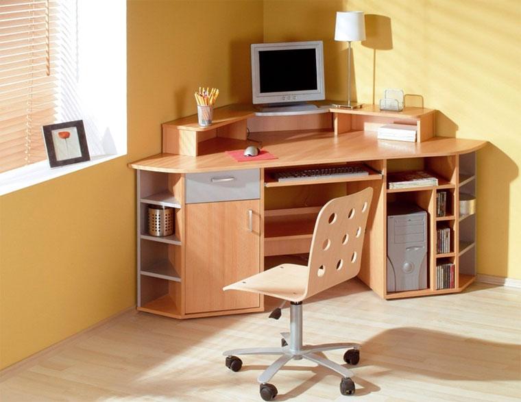 Угловой стол с полками и ящиками