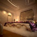 Интерьер спальни с обоями двух видов