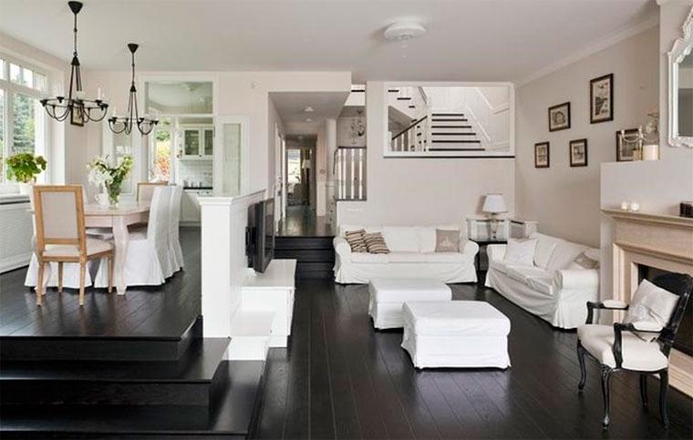 Фото гостиных комнат, совмещенных с кухней