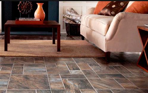 Кроме дерева ламинат может имитировать керамическую плитку, камень