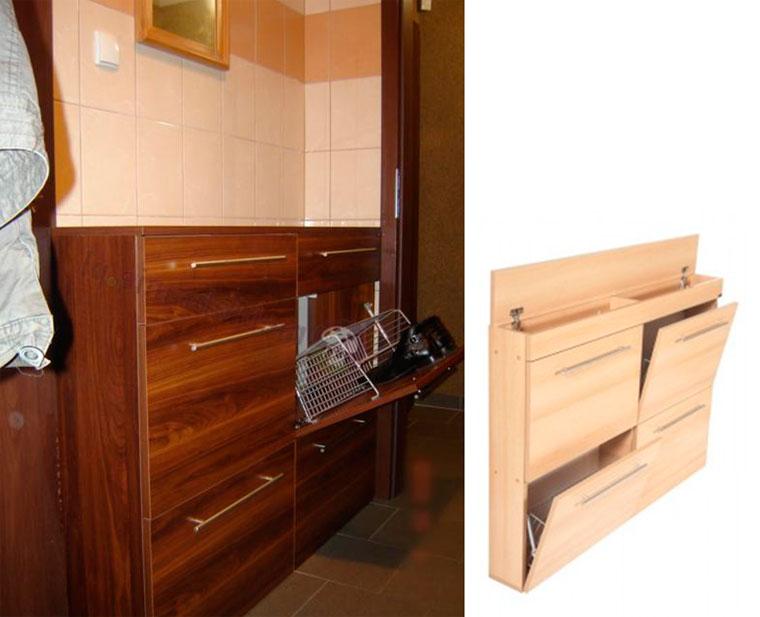 Узкий шкаф с наклонными дверцами