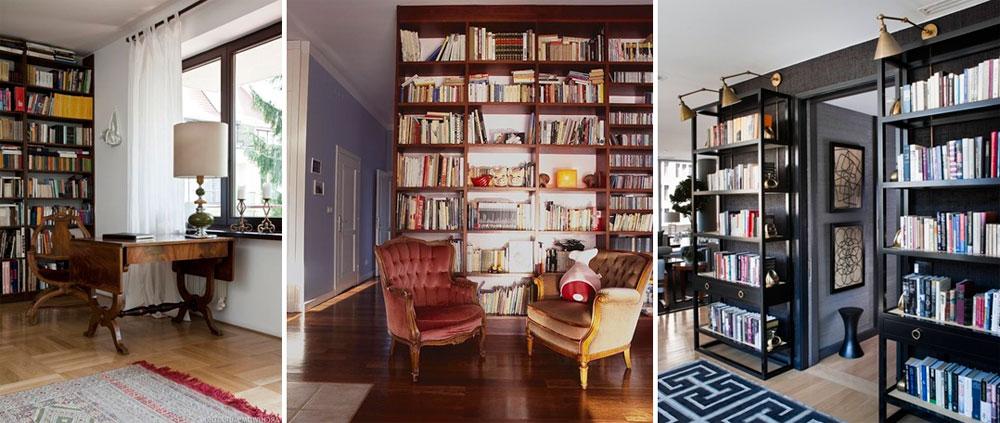 Книжные стеллажи и полки для библиотеки в гостиной