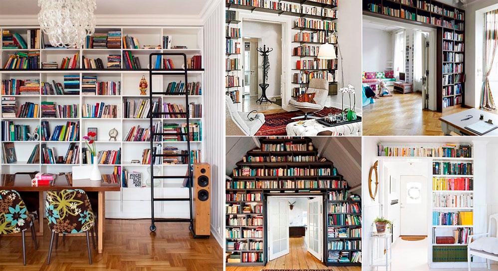 Книжные стеллажи для домашней библиотеки.
