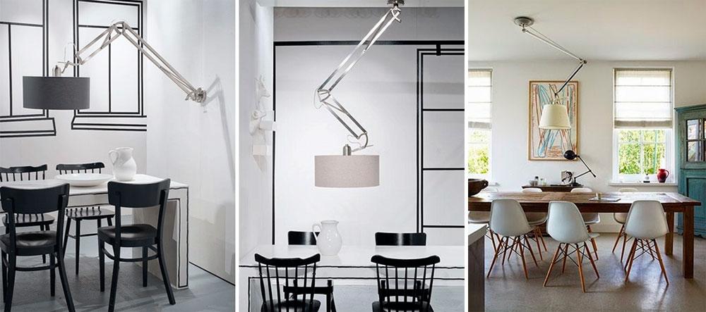 Подвижные современные люстры на кухню – фото