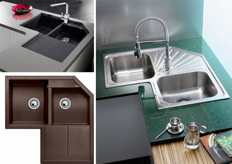 Corner sinks in the kitchen - photos of different types