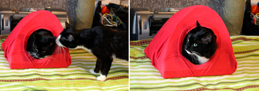 Домик для кошки из коробки и футболки – шаг за шагом