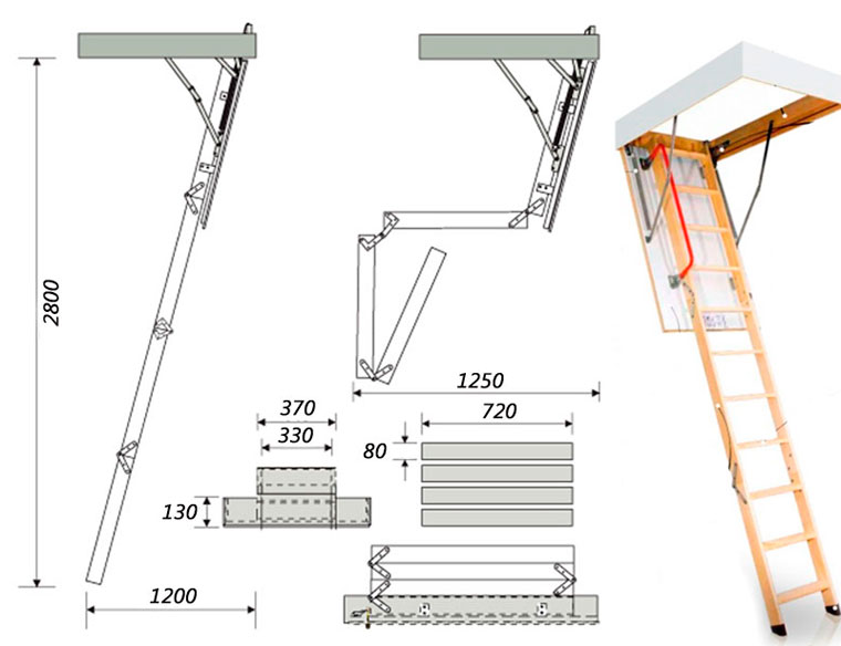 Удобная чердачная лестница своими руками: чертежи и 4 вида