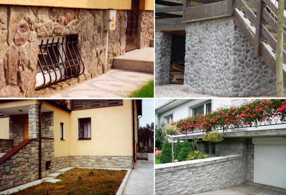 Облицовка цоколя дома природным камнем – фото