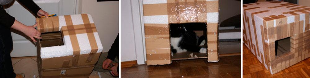 Как сделать зимний домик для кошки своими руками