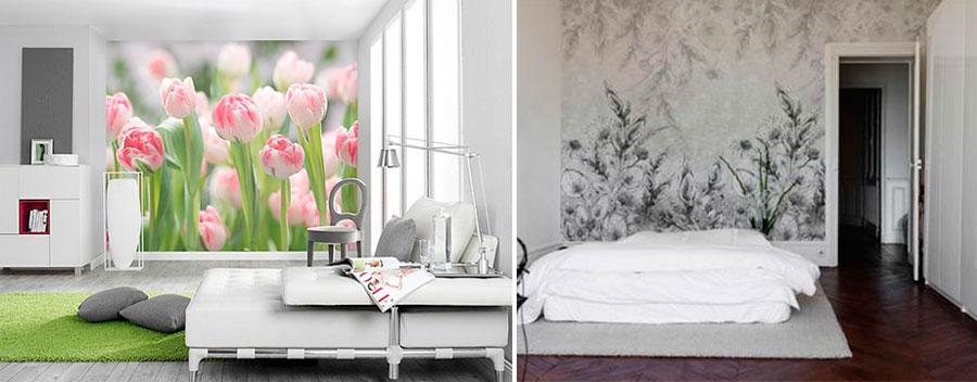 Фотообои в спальню над кроватью – цветы и цветочные мотивы