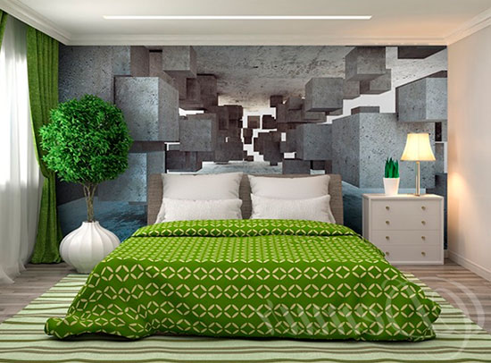 Фотообои с перспективой для маленькой спальни