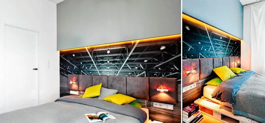 Модный интерьер спальни с фотообоями в стиле лофт
