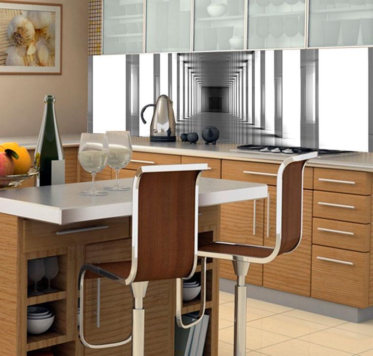Фотообои, расширяющие пространство кухни – фото