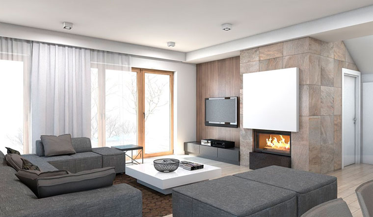 Интерьер комнаты с камином и телевизором