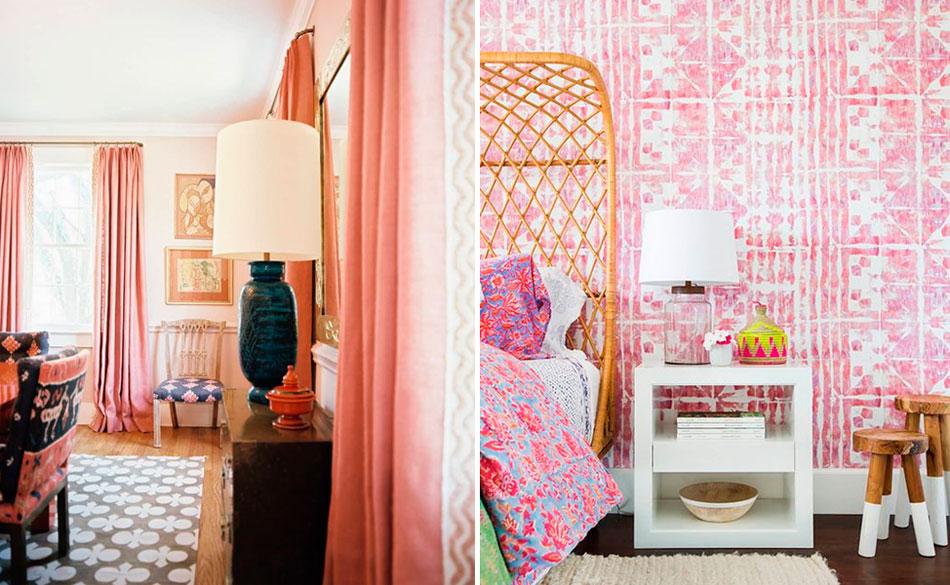 Розовые обои в интерьере – фото