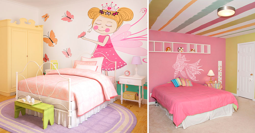 Розовые обои в интерьере спальни