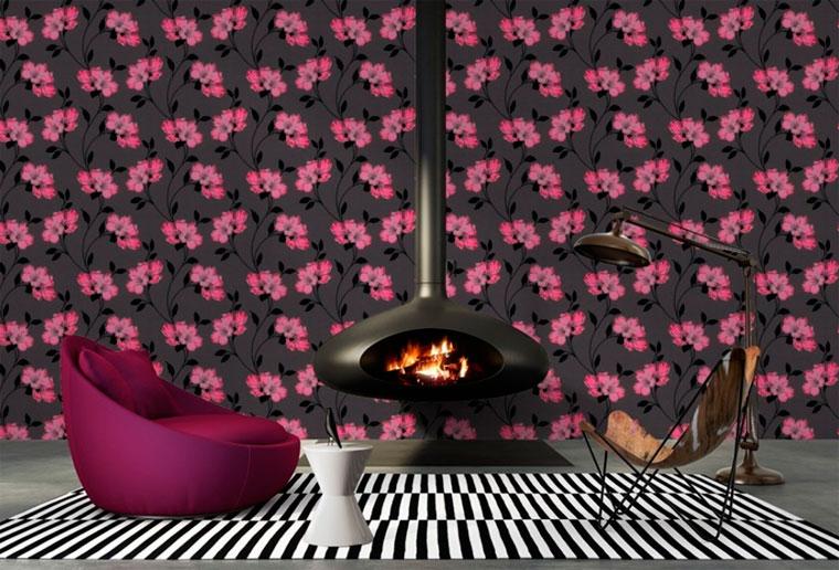 Черно-розовые обои в гламурном стиле