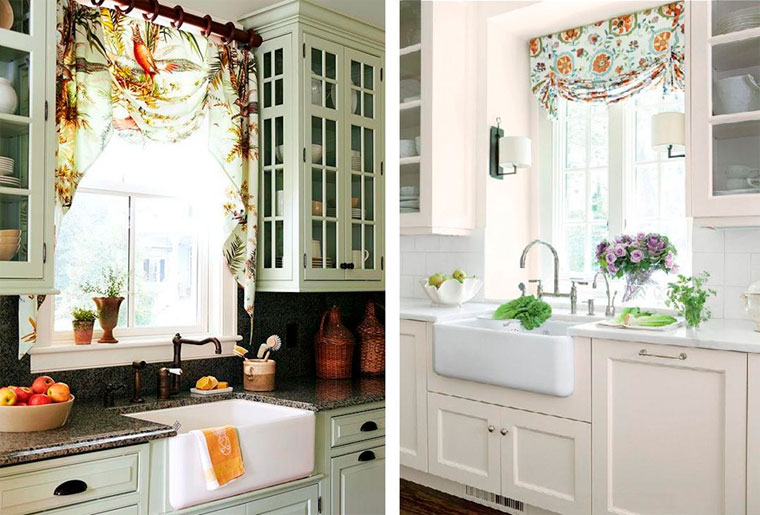 Fashionable design of the kitchen window curtains
