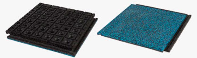Фото. Верхняя и нижняя сторона плиты с дренажем и соединением язычком